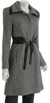 black chevron wool blend 'Merlara' belted coat