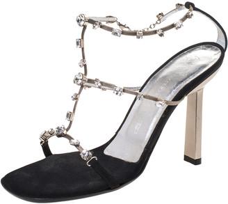 Giuseppe Zanotti Black Satin Crystal Embellished T Strap Sandals Size 37