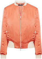 Rag & Bone Morton Jersey-trimmed Satin Bomber Jacket - Antique rose
