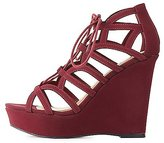 Charlotte Russe Caged Lace-Up Wedge Sandals