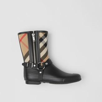 Burberry Strap Detail House Check Rubber Rain Boots