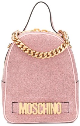 Moschino Glitter-Effect Logo Backpack