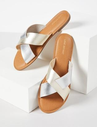 Lane Bryant Crisscross Shimmer Slide Sandals