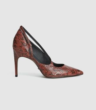 Reiss Geniveve - Snakeskin Court Shoes in Burnt Orange