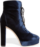 Jimmy Choo Deon Lace-up Velvet Platform Ankle Boots - Navy