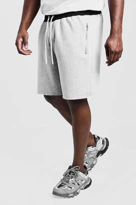 BoohoomanBoohooMAN Mens Grey Big & Tall Raw Edge Short Contrast Waistband, Grey