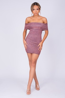 Nazz Collection Chelsea Plum Metallic Sparkle Glitter Bardot Cuff Bodycon Dress