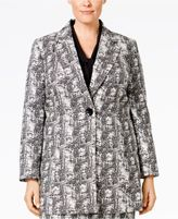 Kasper Plus Size One-Button Jacquard Jacket