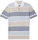 Etro Slim-Fit Striped Cotton and Cashmere-Blend Polo Shirt