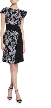 Tadashi Shoji Cap-Sleeve Jacquard Dress