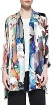 Caroline Rose Hand-Painted Silk-Blend Devore Cardigan, Plus Size