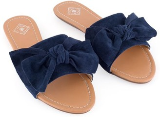 Gallery Seven Suede Bow Slide Sandals for Women