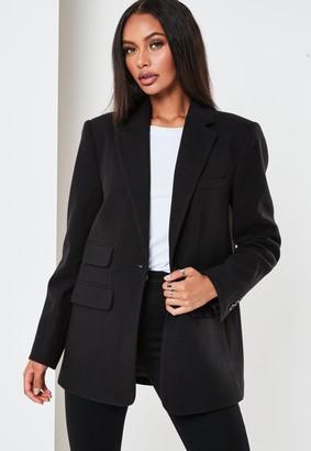Missguided Tall Black Boyfriend Blazer Coat