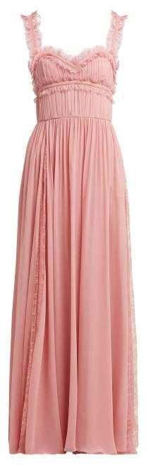 Elie Saab Lace Trimmed Silk Blend Evening Gown - Womens - Light Pink