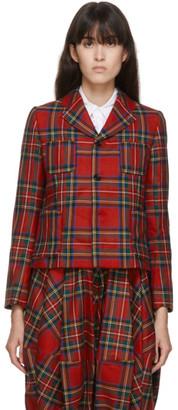 COMME DES GARÇONS GIRL Red Wool Tartan Blazer