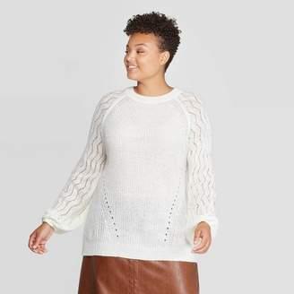 Ava & Viv Women's Plus Size Long Sleeve Crew Neck Stitch Detail Sweater