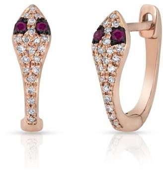 Anne Sisteron Rose Gold Diamond Ruby Snake Huggie Earring
