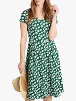 Seasalt Pier View Short Sleeve Floral Print Midi Dress, Daisy Green