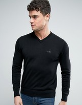 Armani Jeans V-neck Knit Jumper Logo Regular Fit In Black