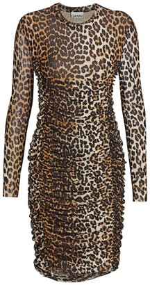 Ganni Leopard Print Mesh Dress