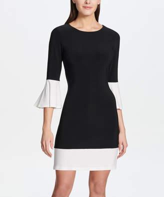 Tommy Hilfiger Women's Casual Dresses 081_BLACK/ - Black & Ivory Color Block Bell-Sleeve Sheath Dress - Women