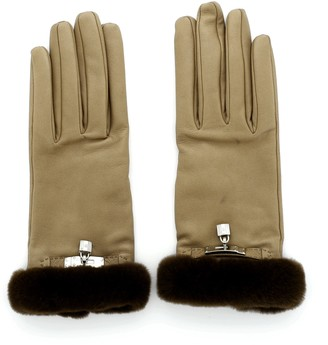 Hermes Soya Gloves Quilted Lambskin with Fur 8