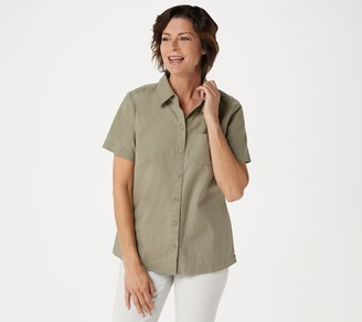 Denim & Co. Short-Sleeve Camp Shirt with Chest Pocket