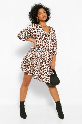 boohoo Plus Leopard Ruffle Tiered Smock Dress