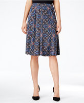 NY Collection Petite Printed Pull-On A-Line Skirt