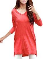 Allegra K Woman V Neck Long Sleeves Side Split Tunic Top w Pockets