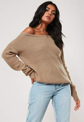 Missguided Taupe Off Shoulder Knitted Jumper