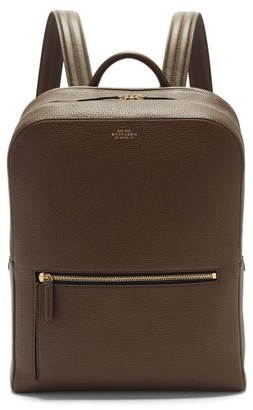 Smythson Ludlow Grained-leather Backpack - Dark Green