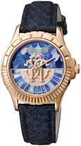 Roberto Cavalli LOGO DIAL Women's Swiss-Quartz Blue Leather Strap Watch