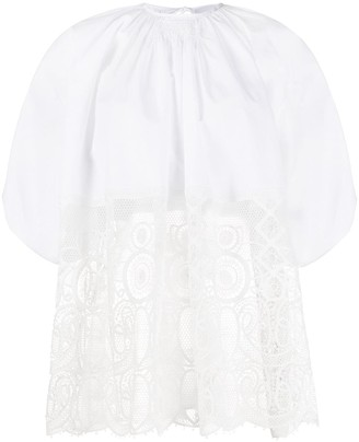 Lace Panel Tie Back Top