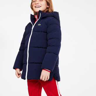 Lacoste Girls' Stand-Up Collar Zippered Hooded Jacket
