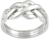 Journee Collection Women's Four-piece Puzzle Ring in Sterling Silver - Silver