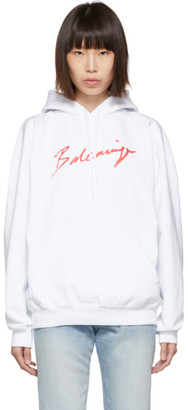 Balenciaga White and Red Signature Hoodie