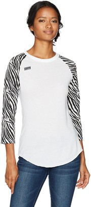 Soffe Women's Juniors Zebra Printed Baseball Tee