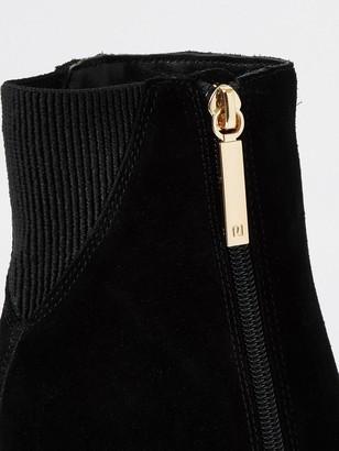 River Island Suede Smart Boot - Black