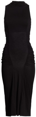 Rick Owens Lilies Open Back Ruched Midi Dress