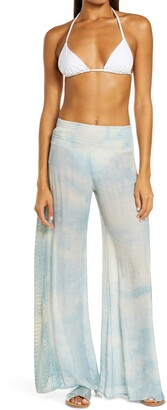 Elan International Crochet Trim Wide Leg Cover-Up Pants