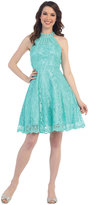 Cindy Tiffany Blue Modest Short Lace Halter Dress For Prom 2017