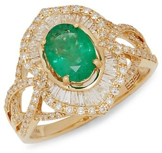 Effy 14K Yellow Gold, Emerald Diamond Ring
