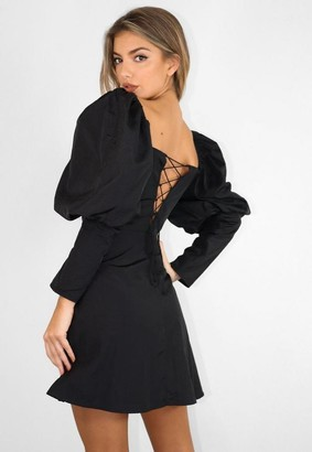 Missguided Black Cup Detail Puff Sleeve Mini Dress