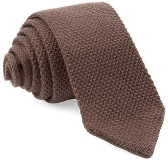 Tie Bar Wool Pointed Tip Knit Brown Tie