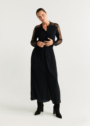 MANGO Lace detail gown black - 4 - Women