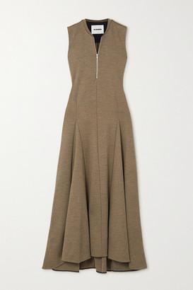 Jil Sander Pleated Wool-jersey Maxi Dress - Light brown
