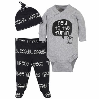 Grow by Gerber Baby Boy's Organic 3-Piece Onesies Bodysuit Footed Pant and Cap Set Pants