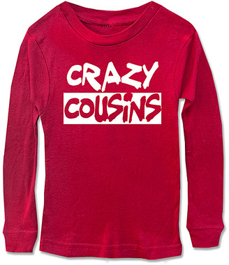 Micro Me Tee Shirts Red - Red 'Crazy Cousins' Long-Sleeve Tee - Kids