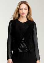 Bebe Drape Collar Leather Jacket